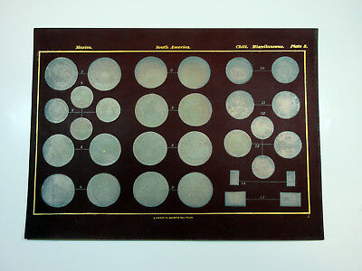 Mexico Chile & South America ca.18th-19th Century Coins Embossed Plate from Book
