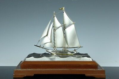 Japanese Vintage Sterling Silver Yacht Ship Statue Okimono Oct159