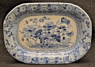 Unusual Small Antique Copeland Tray Blue White Weird Abstract Flowers Butterfly