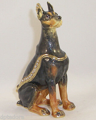 Kingspoint Sergeant Doberman Dog Pewter Bejeweled Hinged Trinket  Box