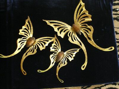 Vintage--Homco/home Interior Set Of 3--Gold Metal Butterfly & Wood Wall Plaques
