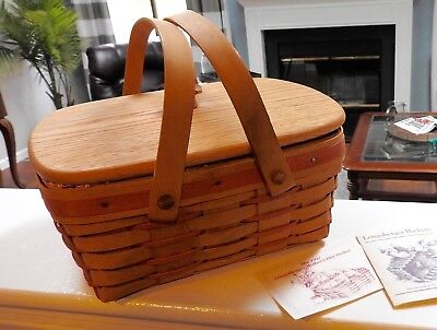 Longaberger 1992 Mothers Day Basket With Lid,liner & Protector Euc