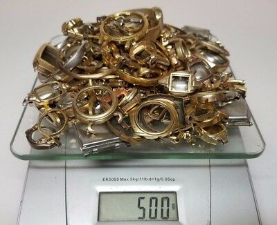 500 Grams 10K 12K GOLD FILLED & RGP Scrap Watch Cases Bands For Recovery
