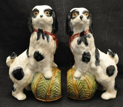 VTG Staffordshire Type King Charles or Cocker Spaniel Dog Figurines Bookends