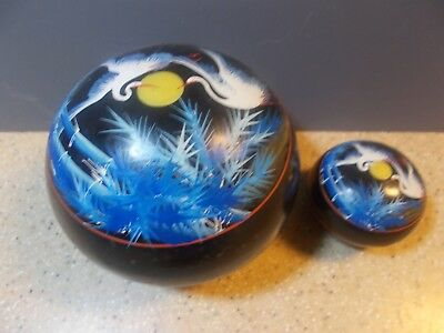 Laquerware painted oriental Cranes pair trinket boxes Collectible stuffer