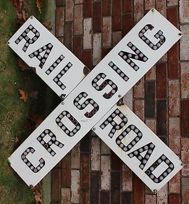 Lrg Antique Early 20thC, Porcelain Railroad Crossing Sign Glass Reflectors NR