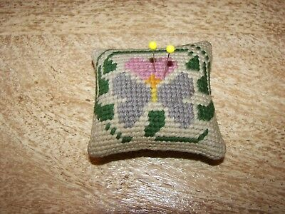 Antique/Vintage Handmade Sewing Pincushion Hand Stitched Crewel Work Hearts