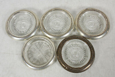 5 Vintage Sterling Silver And Glass Coasters Lot