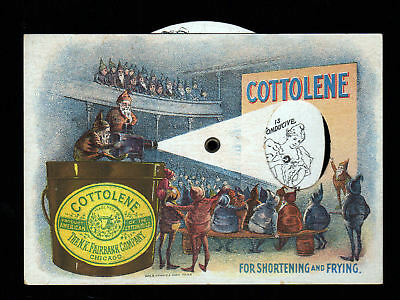 Rare 1880s Cottolene Magic Lantern Mechanical trade card