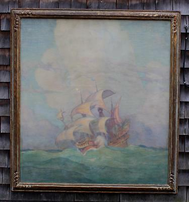 Large Antique ADRIAN L BREWER Arts & Crafts Galleon Ship Seascape Oil Painting
