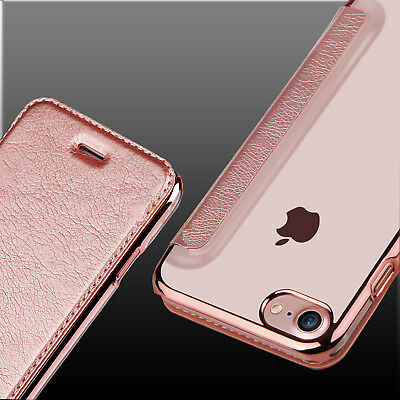 For iPhone 8 / 8 Plus + PU Leather Clear TPU Back Flip Wallet Card Case Cover
