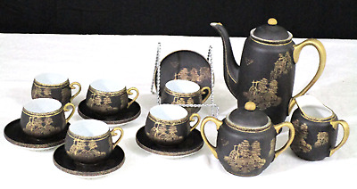 "Japanese Porcelain Black and Gold trimmed Hand-painted Tea Set ""24 K.G."" (190)"