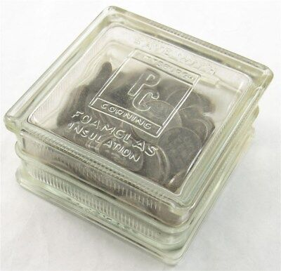 Pittsburgh Corning Glass Block Bank w/ Unsorted Lincoln Wheat Steel Penny Cents