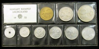 1972 Hungary 9-Coin Mint Set - Sealed UNC/BU - 2 to 50 Filler, 1 to 10 Fornit