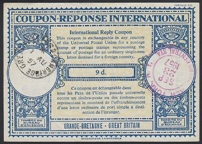 GREAT BRITAIN, 1957. Int'l Reply Coupon 9d, Cambridge-New York