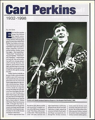 Carl Perkins 1932-1998 death tribute 2-page article 8 x 11 pinup photo print