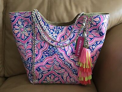 Lilly Pulitzer CAN'T RESIST REVERSIBLE POOL TOTE Cork Travel Overnight Bag - NWT