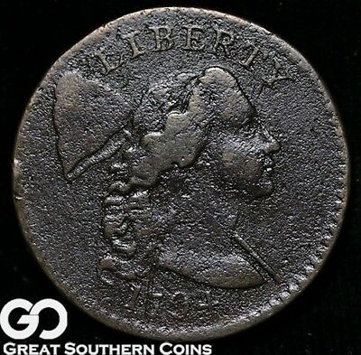 1794 Large Cent, Flowing Hair Liberty Cap, Very Scarce Early Copper ** Free S/H!