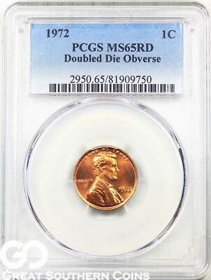 1972/72 DDO Lincoln Cent Memorial Penny, RED, PCGS MS 65 RD ** Key Date ERROR!