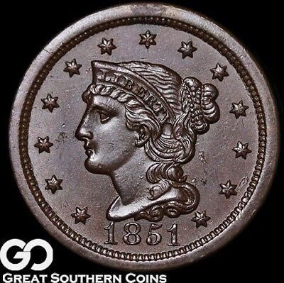 1851 Large Cent, Braided Hair, Very Nice Near Gem BU++ Copper!