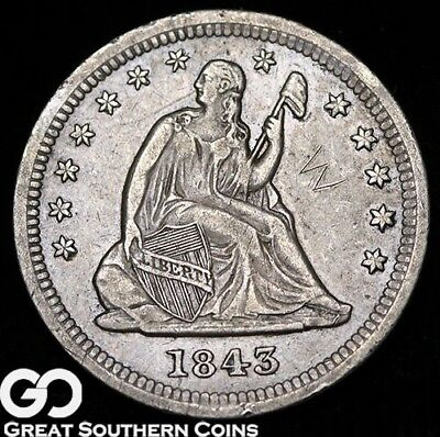 1843-O Seated Liberty Quarter, Key Date New Orleans Issue, Details