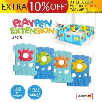 ABST Kids Play Room Baby Safety Playpen Panel Extension Sea World Design - 4 Pcs