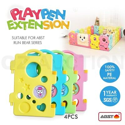 ABST 4 Pcs Baby Kids Playpen Panel Extension Run Bear Series Interactive Toddler