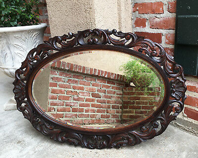Large Antique French Carved Dark Oak OVAL Frame Beveled Wall Mirror Renaissance
