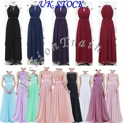 Formal Dress Women's Chiffon Halter Bridesmaid Long Maxi Evening Prom Gown - UK