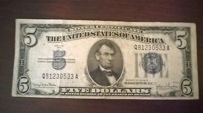 1934 D $5 Dollar Bill Silver Certificate Bank Note533a