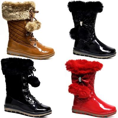 Girls Riding Boots Knee high Mid Calf Casual School Winter Fur Zip Boot Shoes