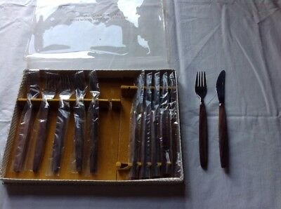 Vintage Unused. Boxed Rosewood Handle Knives And Forks Cutlery 6 Setting