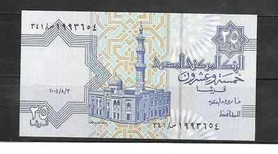 EGYPT #57e 2004 25 PIASTRES UNCIRCULATED CURRENCY BANKNOTE BILL NOTE PAPER MONEY