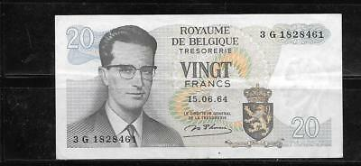 Belgium #138 1964 1964 Vf Used 20 Franc Old Banknote Paper Money Note Bill