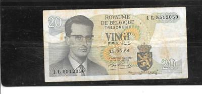 Belgium #138 1964 1964 Vg Circulated 20 Franc Old Banknote Currency Paper Money