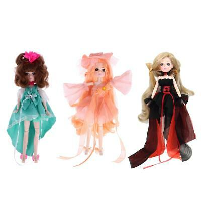 3 Pcs 27cm Vinyl Dressed Body Doll Ball Jointed Doll Kids Toy Birthday Gift