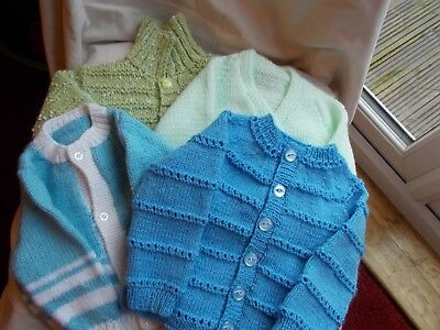 New Hand Knitted 4 Long Sleeved Cardigans 0- 3 Months