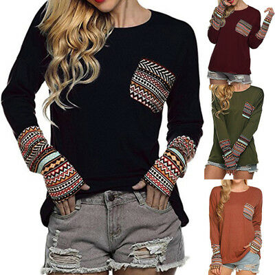 Fashion Women's Long Sleeve T-shirt Blouse Casual Loose Tops Sweatshirt Pullover
