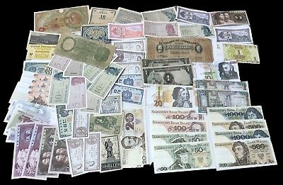 Lot (67) World Paper Money Collection - Asia, Europe, South America, +++