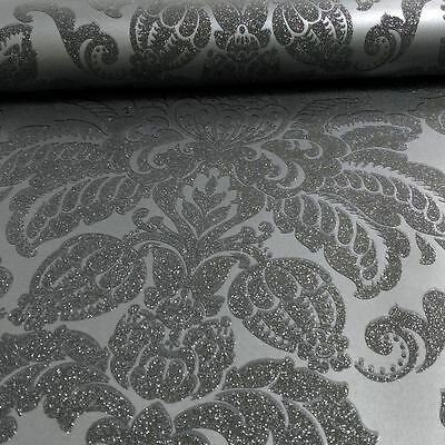 Arthouse - Precious Metals Glisten Damask Wallpaper Decor - Gunmetal Grey 673201