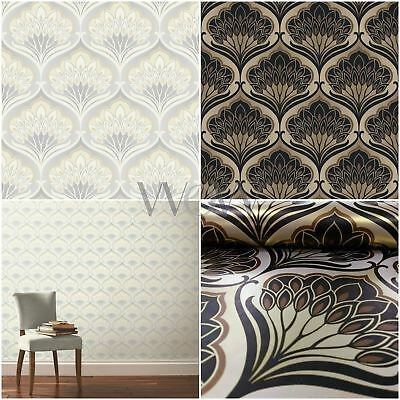 A Shade Wilder Pavonis Feather Peacock Damask Wallpaper, Grey/cream, Black/gold