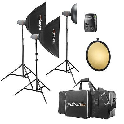 walimex pro Newcomer Studioset Performer 2x 300/1x 200Ws, incl Trigger, Bag, etc