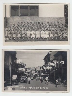 2 X Straits Settlements Old Postcard Singapore Group Of Children And Chinatown!!