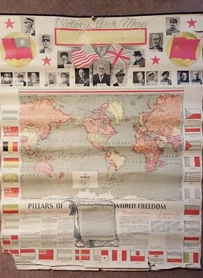 "2 Vintage WWII World Hanging Maps 28"" by 35"" ""VICTORY WAR MAP"" 1943 ALLIES ETC"