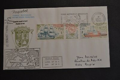 lettre TAAF 1990 ALFRED FAURE BCR MARNE triptyque PA ocean indien