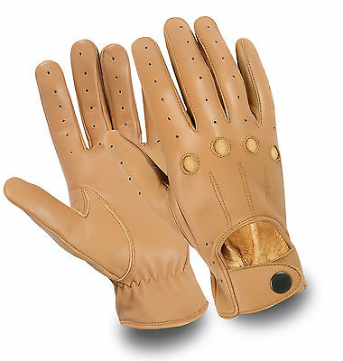 Genuine Soft Sheep Leather Mens Driving Dress Gloves Unlined Chauffeur Retro