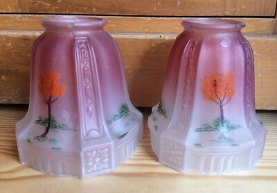 Pair Antique Vintage Frosted Pink Glass Hand Painted Art Deco Lamp Light Shades