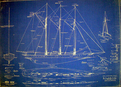 "Racing Schooner Yacht Atlantic 1905 Blueprint Plan Drawing 22"" x 29"" (078)"