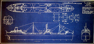 Vintage T2 Tanker Ship USN and MSTS 1944 Blueprint Plans 11x22  (156)