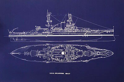 "Battleship USS Oklahoma BB-37 Print WW2 Pearl Harbor Blueprint Plan 20""x24""(026)"